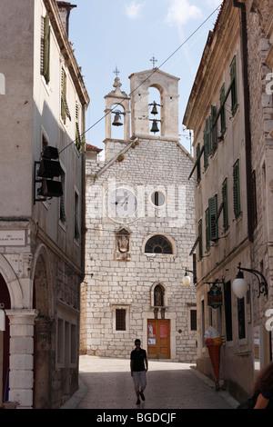 Old town street with the Church of Saint Barbara, Sibenik, Dalmatia, Adriatic Sea, Croatia, Europe - Stock Photo