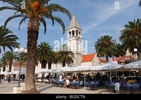 Promenade, church of the Dominican monastery, Trogir, Dalmatia, Croatia, Europe - Stock Photo