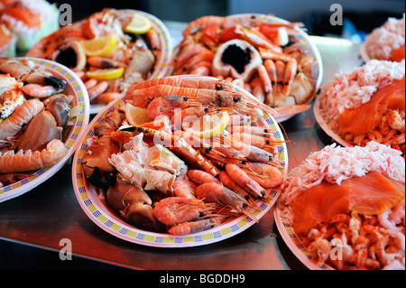 Fish plates ready-to-reat on the fish market in Bergen, Norway, Scandinavia, Northern Europe - Stock Photo