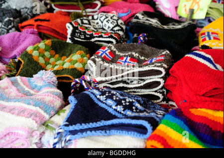 Typical Norwegian knit caps at a souvenir stand at the market in Bergen, Norway, Scandinavia, Northern Europe - Stock Photo