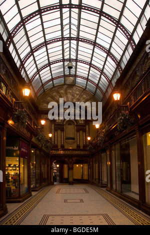 Lamps light the interior of the Central Arcade in Newcastle-upon-Tyne, England. - Stock Photo