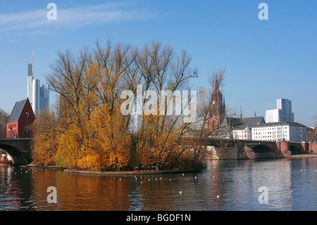 Portikus exhibition hall on a small island on the Main River, Alte Bruecke, Old Bridge, Kaiserdom or Emperor's Cathedral - Stock Photo
