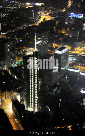 Aerial photo, RWE Tower Evonik, Essen, Ruhrgebiet area, Extraschicht 2009 cultural festival, night flight, North - Stock Photo