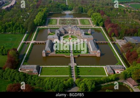 Aerial photo, Fachhochschule fuer Finanzen NRW business school, Schloss Nordkirchen moated castle, Baroque, Nordkirchen, - Stock Photo