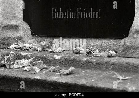 Tombstone with autumn leaves in black and white, Munich, Bavaria, Germany, Europe - Stock Photo