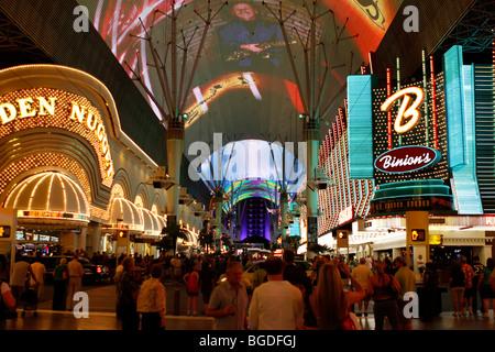 Fremont Street in old Las Vegas, Nevada, USA - Stock Photo