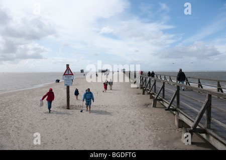 Pier of St. Peter-Ording over the flooded beach, North Sea, North Frisia, North Germany, Germany, Europe - Stock Photo