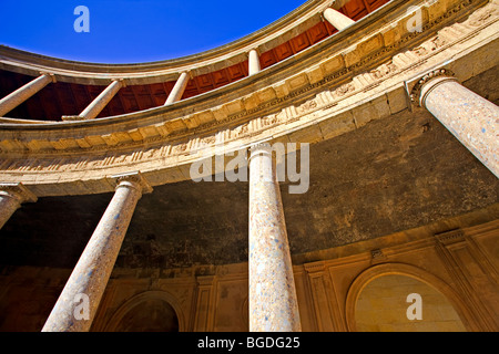 Columns in the circular courtyard of the Palace of Charles V (Palacio de Carlos V), The Alhambra (La Alhambra)  - Stock Photo