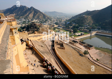 View from the Palace of Amber, Amber, near Jaipur, Rajasthan, North India, India, South Asia, Asia - Stock Photo