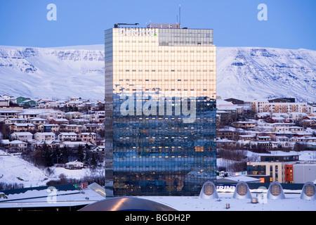 'Turninn' office building with Deloitte headquarters in Iceland. Kopavogur, Greater Reykjavik area, Iceland. - Stock Photo
