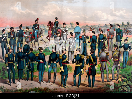 Uniforms of the Army, Navy and N.Y. State National Guards, circa 1870 - Stock Photo