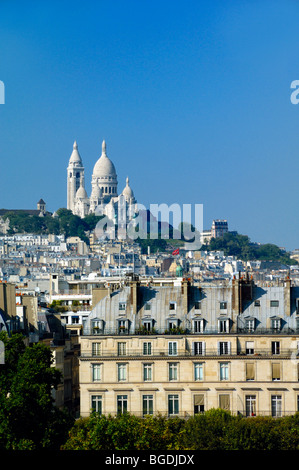 View of the Sacré Coeur Basilica or Church on Montmartre Hill or 'butte' from the Roof Terrace of the Orsay Museum, - Stock Photo
