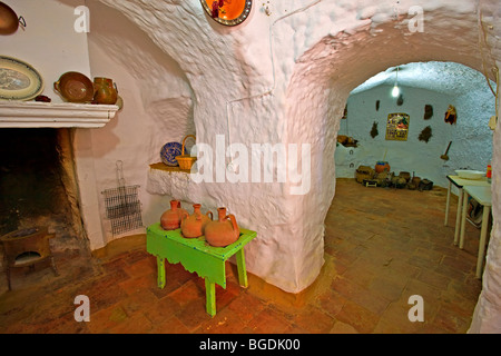 Interior of a cave dwelling in the town of Guadix, Province of Granada, Andalusia (Andalucia), Spain, Europe. - Stock Photo