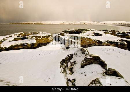 Skara Brae Northern Europe's best-preserved Neolithic village Mainland Orkney Highland Region Scotland.  SCO 5679 - Stock Photo