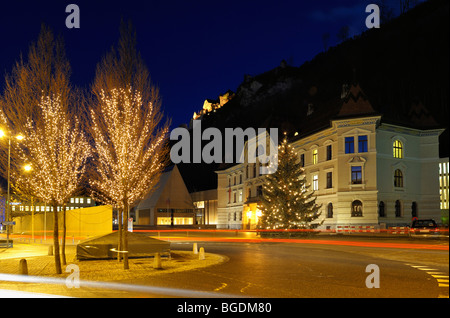 Old and new government building and the princely castle, Vaduz Liechtenstein FL - Stock Photo