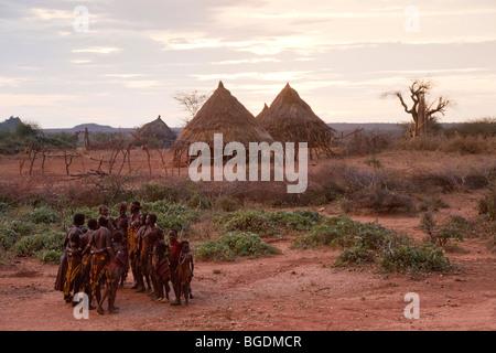 Hamer Dancers, Omo Valley, Ethiopia - Stock Photo