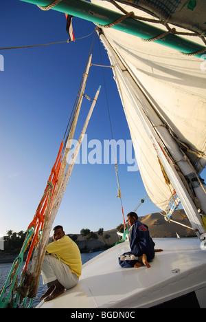 ASWAN, EGYPT. Sailing on a felucca on the Nile. 2009. - Stock Photo
