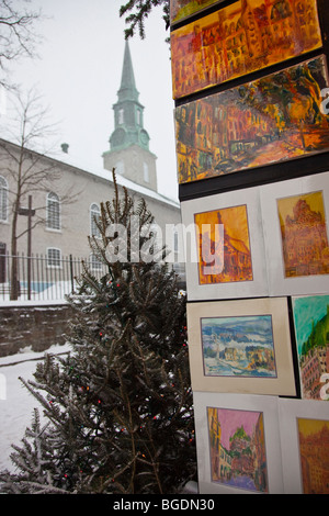 Church and artwork in Upper Old Quebec City - Stock Photo