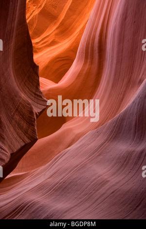 Navajo sandstone inside Lower Antelope Canyon, Arizona - Stock Photo