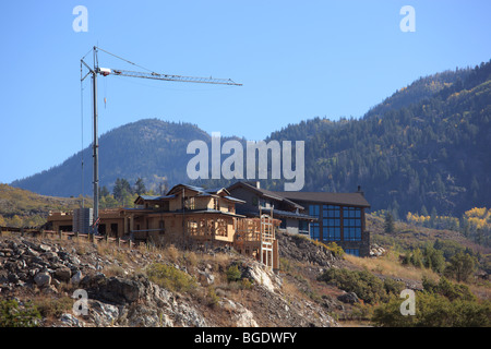 New home under construction in Steamboat Springs Colorado USA - Stock Photo