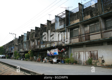 Old houses in the suburbs of Bangkok, Thailand. - Stock Photo