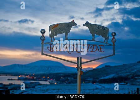 Farm sign at the approach to Stromness seafront ferry town on Orkney Mainland Scotland.  SCO 5719 - Stock Photo