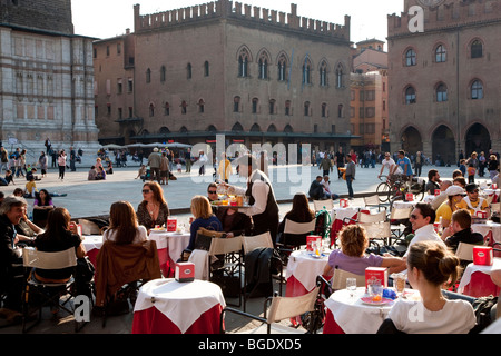 Cafe in Piazza Maggiore, Bologna, Emilia Romagna, Italy - Stock Photo