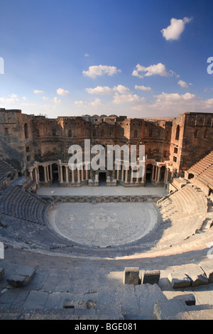 Syria, Bosra, ruins of the ancient Roman town (a UNESCO site), Citadel and Theatre - Stock Photo