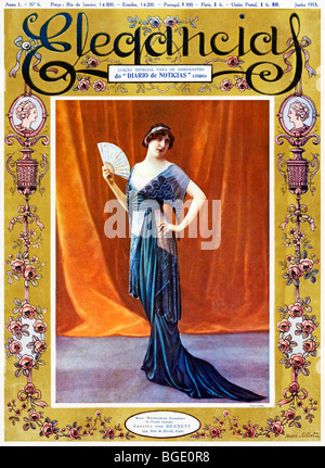 Elegencias, 1913 cover of the Portugese fashion mag, actress Magdeleine Damiroff models French fashion from Bennett - Stock Photo