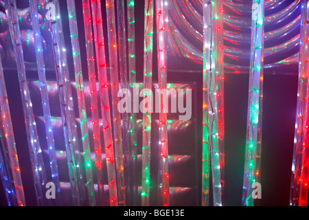 colorful string of lights labyrinth at a county fair in Germany, Europe