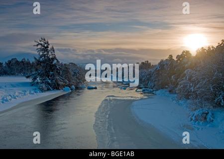 The River Spey in Winter at Boat of Garten, Strathspey, Inverness-shire Highland Region Scotland  SCO 5720 - Stock Photo