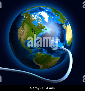 Network cable plugged into the Earth globe. Conceptual 3D illustration. - Stock Photo