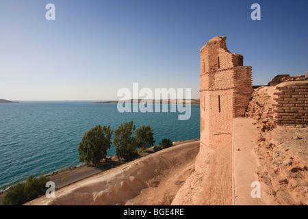 Syria, Euphrates river , Ath Thaura, Lake Al-Assad and Qalaat Jaabar Castle - Stock Photo