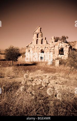 Syria, Aleppo, the Dead Cities, Ruins of Deir Samaan Village - Stock Photo