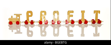 A toy letter carts train forming word profit - Stock Photo