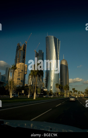 Portrait of skyscrapers in downtown Doha, Qatar taken from car - Stock Photo