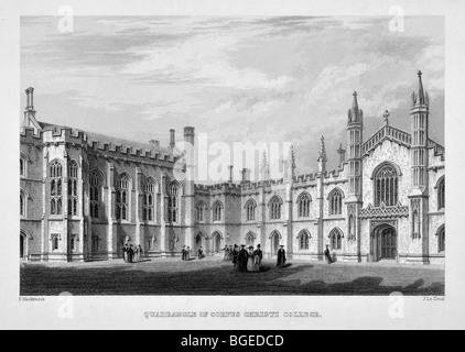 Quadrangle of Corpus Christi College, Cambridge - Stock Photo