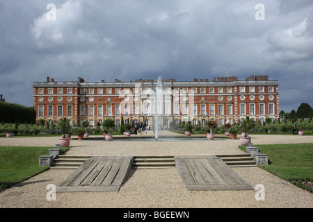 A view from the Privy Garden towards the South Front of Hampton Court Palace. - Stock Photo