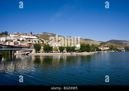 View of Pinhao village in Douro Portugal - Stock Photo
