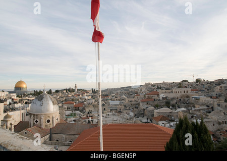 Israel, Jerusalem Old City, View of the city from the roof of the Austrian Hospice of the Holy Family - Stock Photo