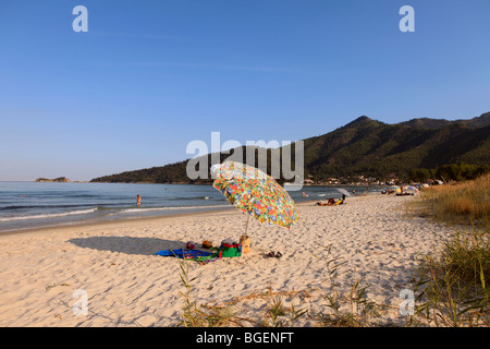 GREECE NORTH EAST AEGEAN ISLANDS THASSOS A VIEW OF GOLDEN BEACH - Stock Photo
