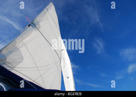 Telltale in the wind; sailing on the Gulf of Mexico, 2010 - Stock Photo