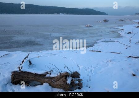 winter scenery, Iskar dam frozen, Bulgaria, Balkans - Stock Photo