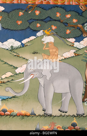 Four Harmonious Friends or Thuenpa Puen Zhi, Buddhist Painting, Punakha Dzong Monastery, BHUTAN - Stock Photo
