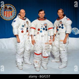 Apollo 16 prime crew, left to right, Thomas K. Mattingly II, John W. Young and Charles M. Duke Jr. - Stock Photo