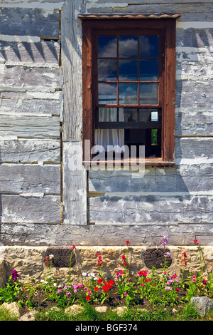 Window of the Farm Manager's house, Lower Fort Garry - a National Historic Site, Selkirk, Manitoba, Canada. - Stock Photo