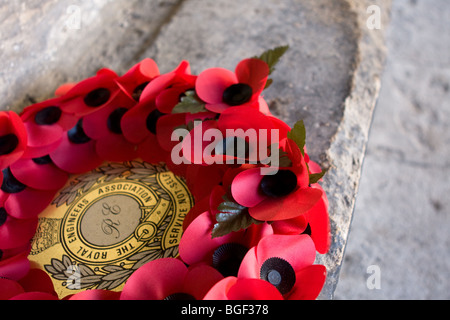 Remembrance day poppy wreath - Stock Photo