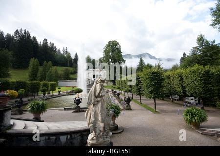 Linderhof Palace (German: Schloss Linderhof) is in Germany, in southwest Bavaria near Ettal Abbey - Stock Photo