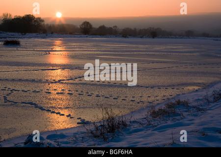Winter scene, Iskar river frozen, Bulgaria, Balkans - Stock Photo