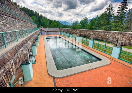 Cave and Basin Pool, Cave and Basin National Historic Site, Sulphur Mountain, Banff National Park, Alberta, Canada. - Stock Photo